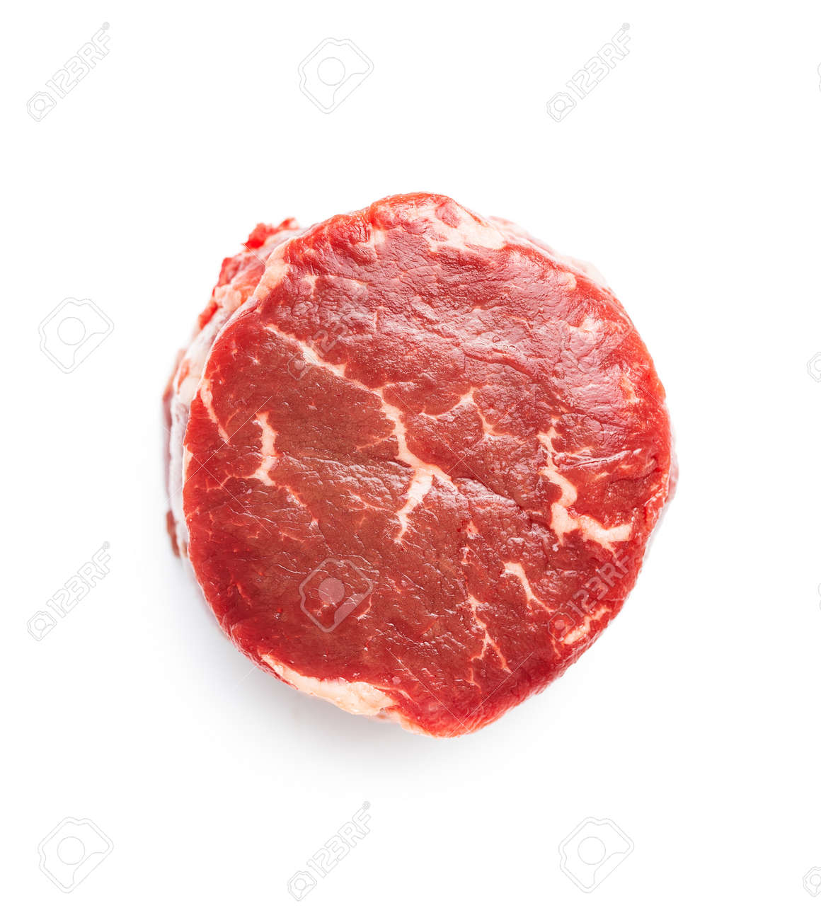 The raw beef meat steak isolated on white background. - 168434827