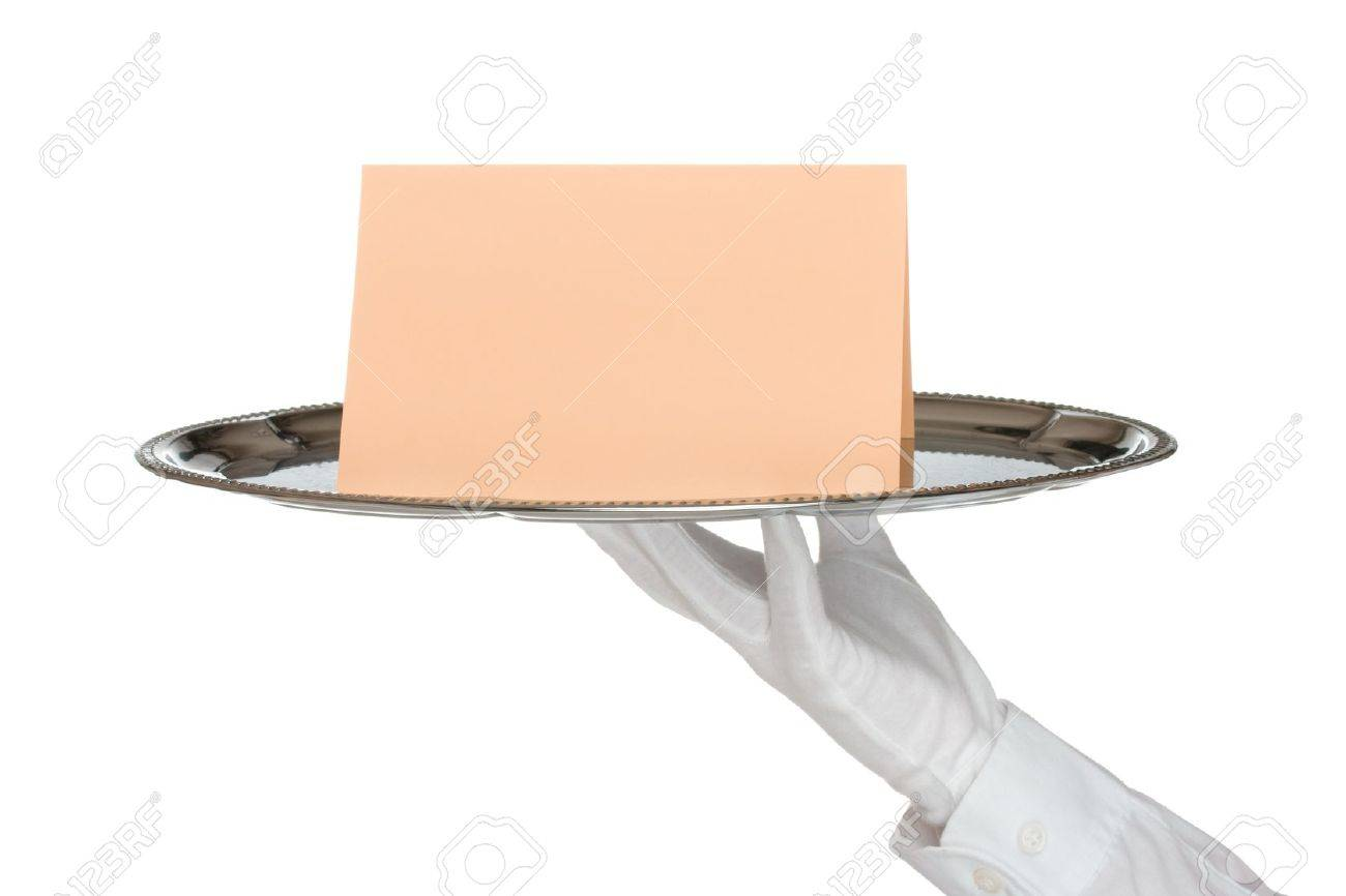 Waiter with white protective gloves holding silver tray with card - white background Stock Photo - 11847115