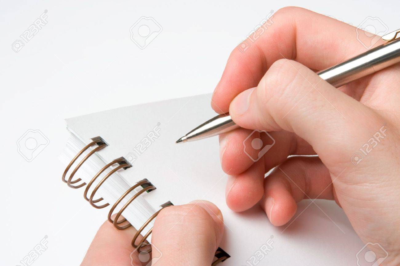 Student with spiral notebook prepared taking note Stock Photo - 11847735