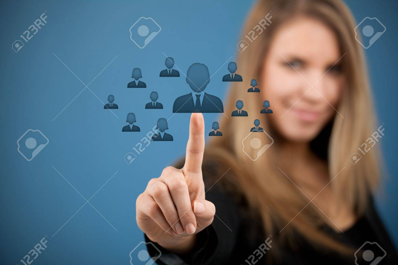 human resources crm and social networking concept female human resources crm and social networking concept female officer choose person employee