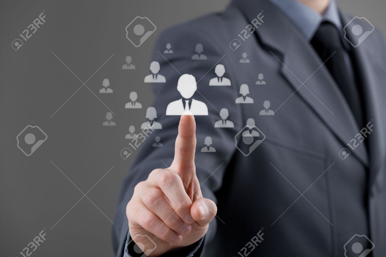 Human resources officer choose employee standing out of the crowd  Select team leader concept  Gender discrimination in employees selection Stock Photo - 18855619