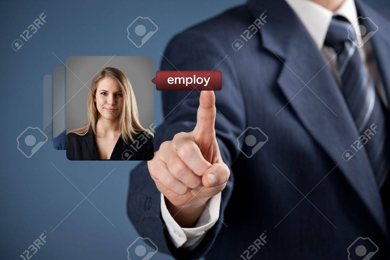 Human resources officer realize gender equality by choosing woman employee  Gender equality quotes concept Stock Photo - 18788255