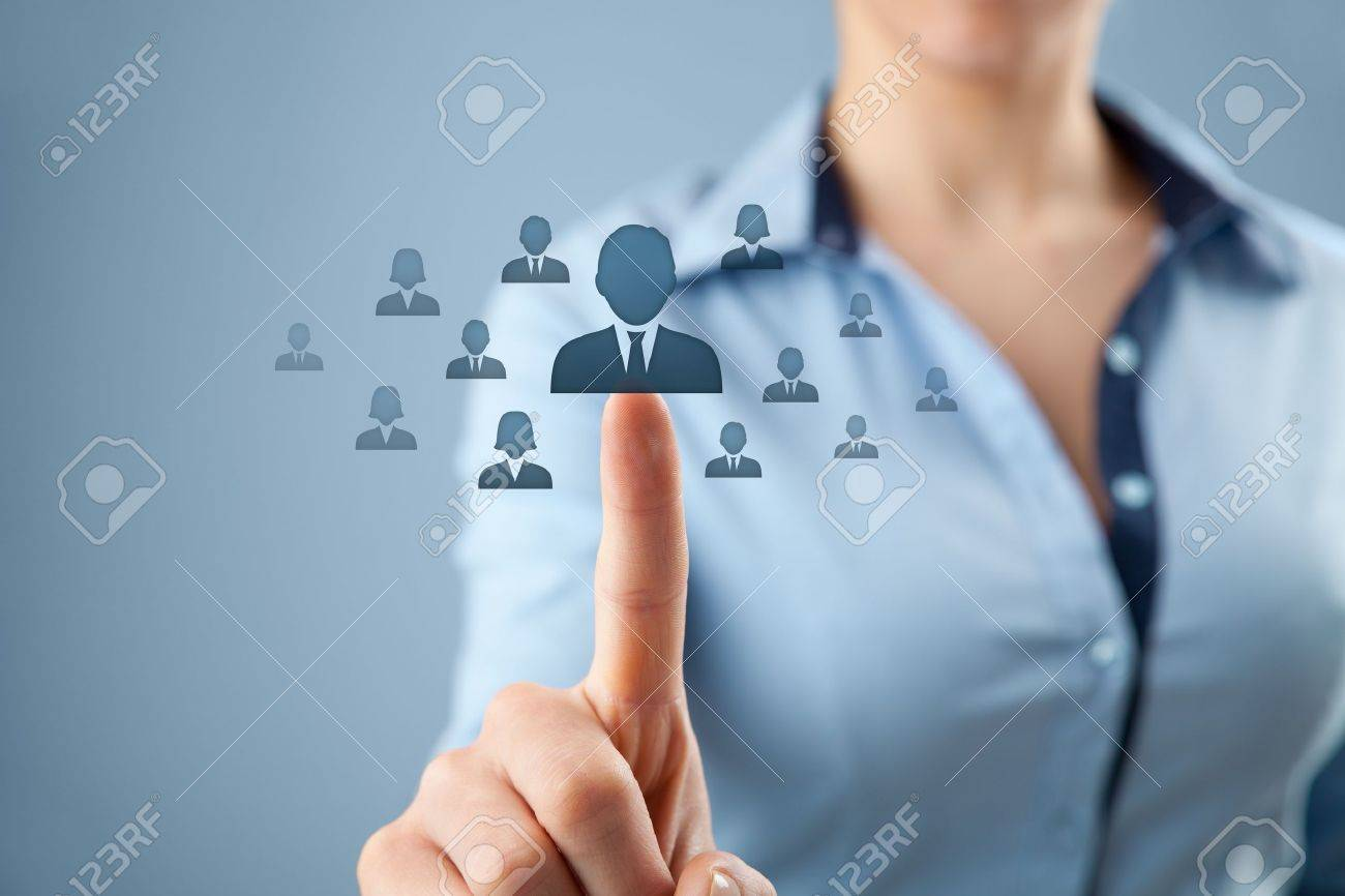 human resources crm and social networking concept female human resources crm and social networking concept female officer choose person employee represented by