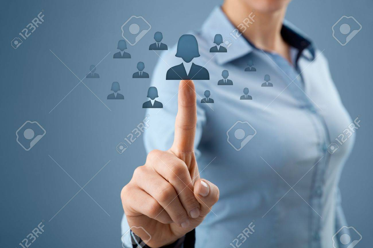 Woman human resources officer realize gender equality by choosing woman employee. Women in business, CRM, data mining and gender equality quotes concept also. Stock Photo - 19479818