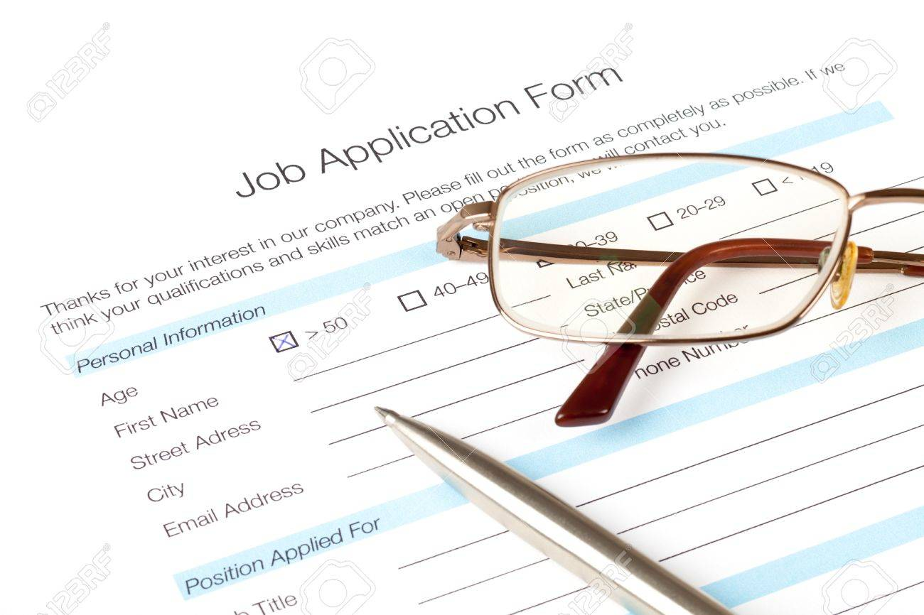 Job Application Form Fill In By Person Over Fifty Years Old .. Stock ...