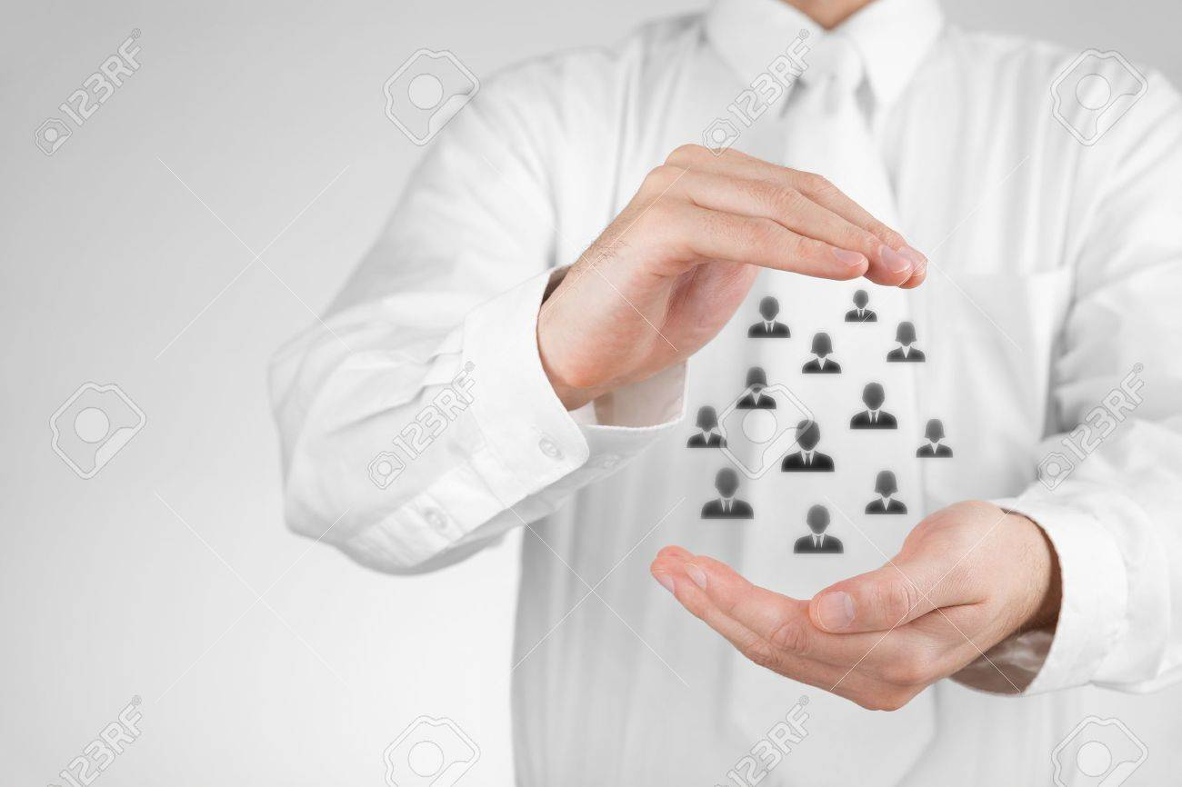 Customer care, care for employees, labor union, life insurance and marketing segmentation concepts. Protecting gesture of businessman or personnel and icons representing group of people. Stock Photo - 20708185