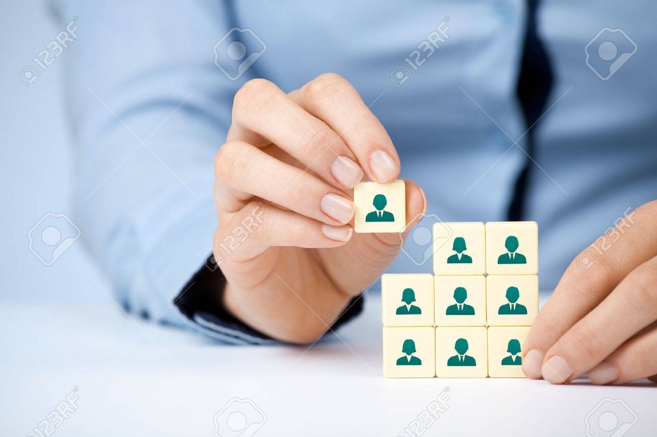 human resources social networking and assessment center concept human resources social networking and assessment center concept recruiter complete team by one person