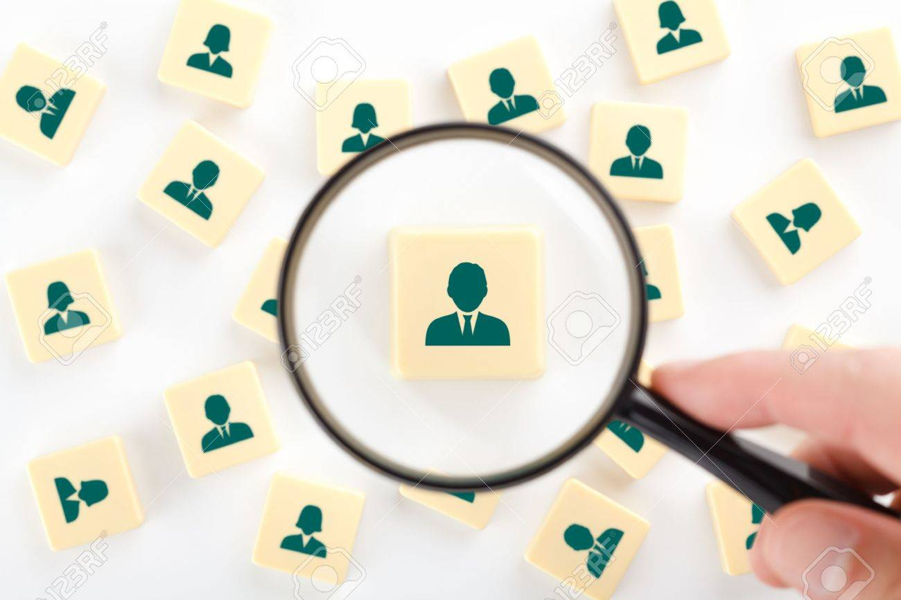 Human resources, personal audit and assessment center concept - recruiter look for employee represented by icon. Stock Photo - 20708197