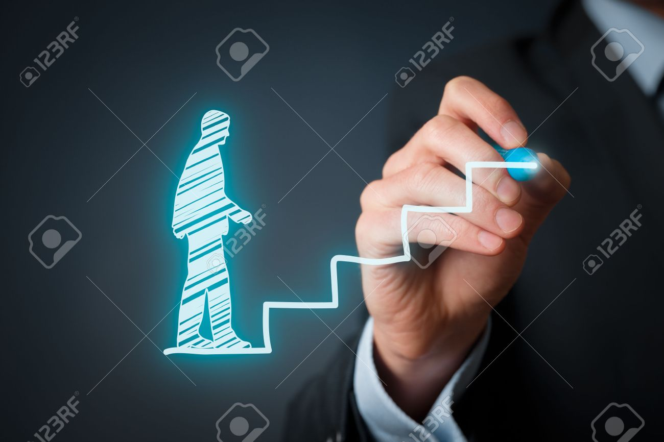 Personal development, personal and career growth, success, progress and potential concepts. Coach (human resources officer, supervisor) help employee with his growth symbolized by stairs. - 36631153