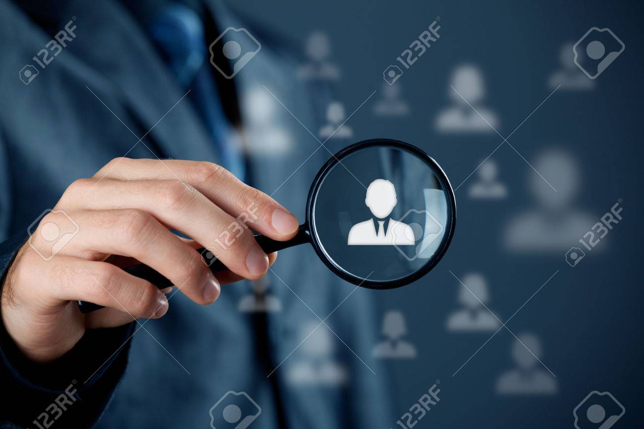 Individual customer service care, personalization, marketing segmentation and targeting, customer relationship management (CRM) and headhunter human resources concepts. Businessman with magnifying glass focused on one person. - 36982546