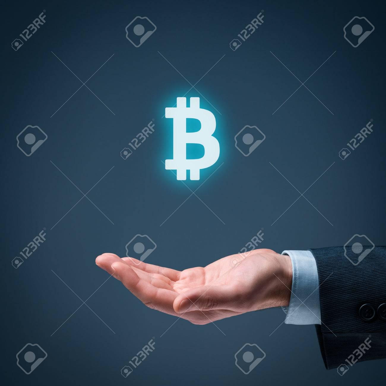 Bitcoin In Wirtschaft Und Handel Geschäftsmann Angebot Bitcoin