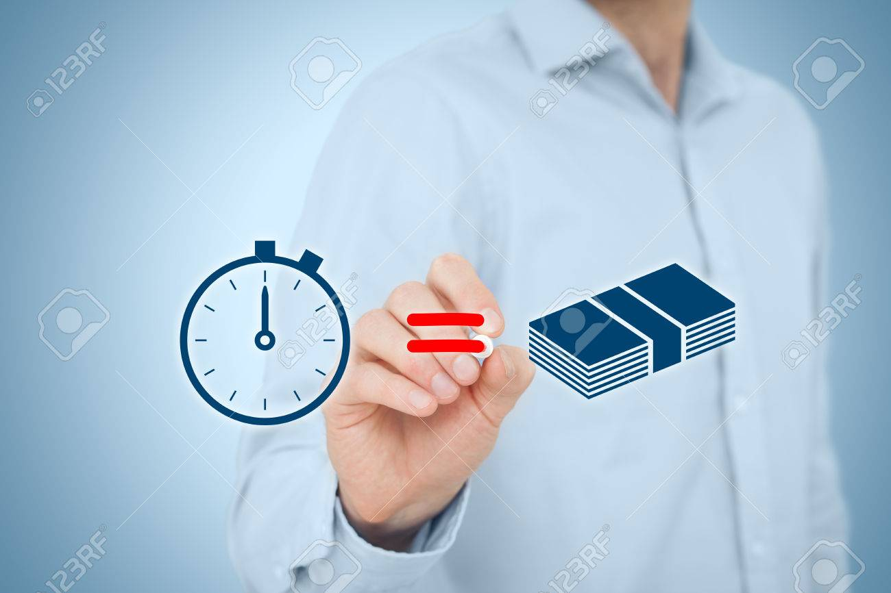 Time is money concept. Businessman draw simple image illustrating time is money concept. - 44219372