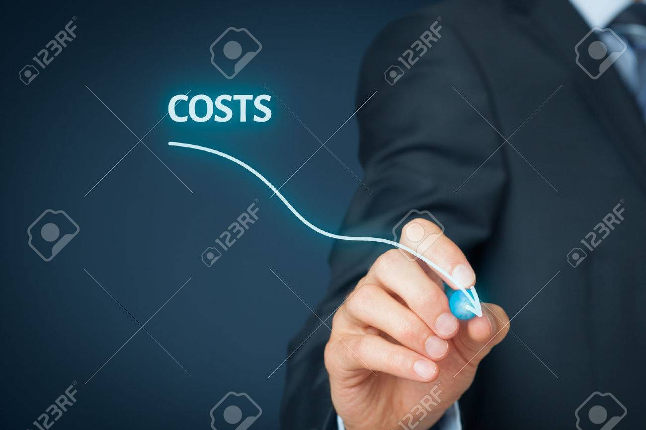 Costs reduction, costs cut, costs optimization business concept. Businessman draw simple graph with descending curve. - 45632652