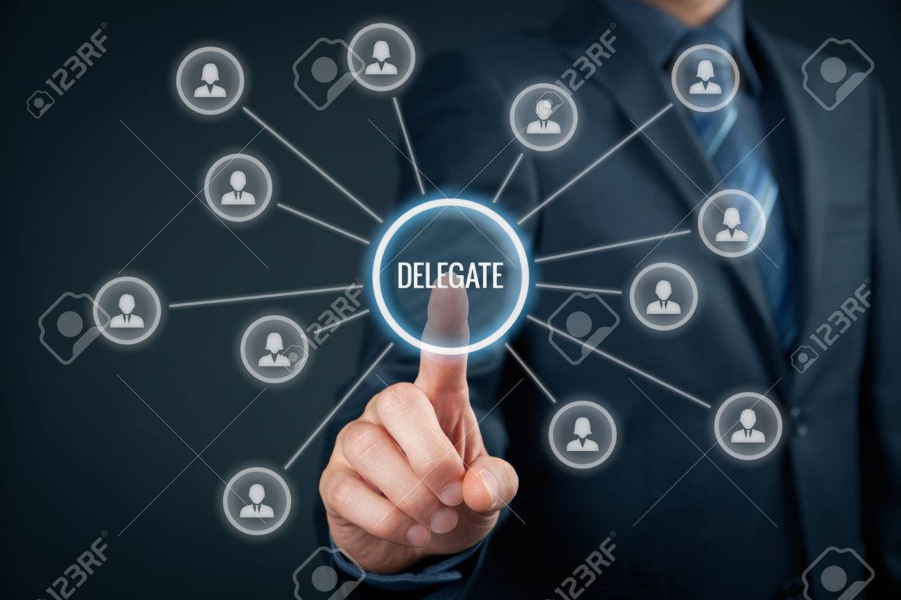 Manager delegate work on another person in team. Managerial concept with delegation. - 47216653