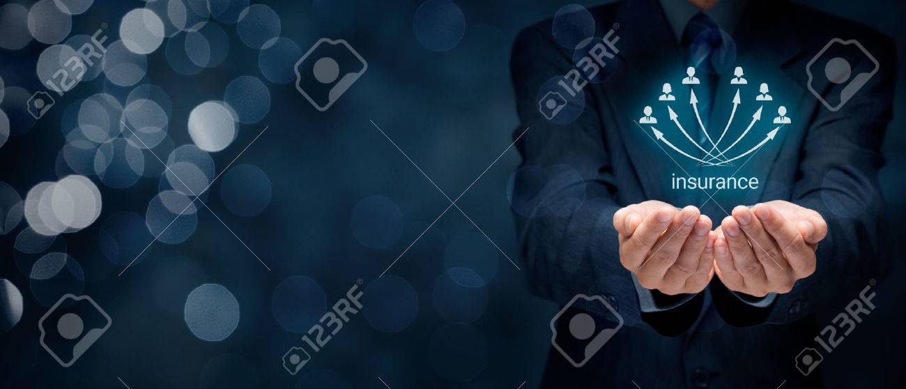 Insurance concept. Insurance agent and insurance company customers. Wide banner composition with bokeh in background. - 50995634