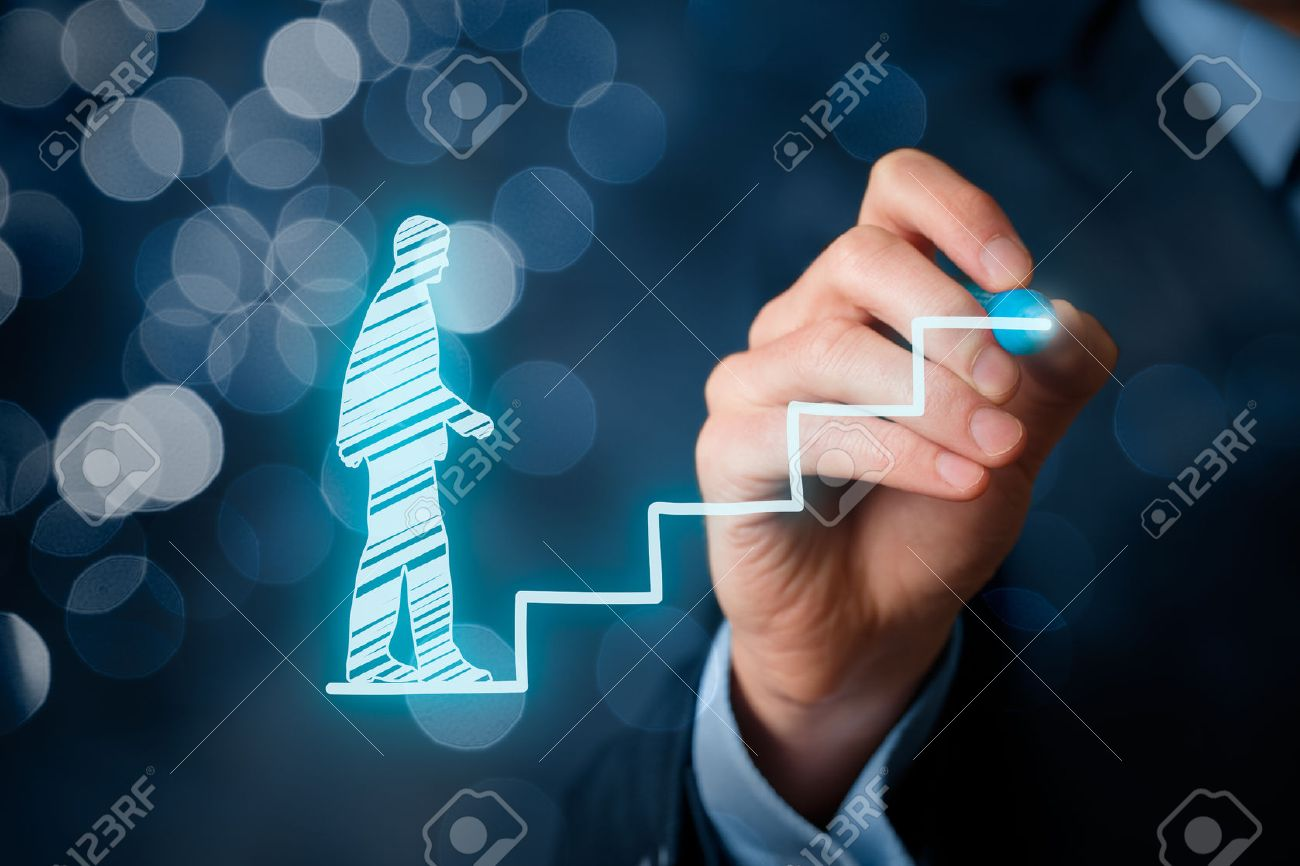 Personal development, personal and career growth, success, progress and potential concepts. Coach (human resources officer, supervisor) help employee with his growth symbolized by stairs, bokeh in background. - 50997473