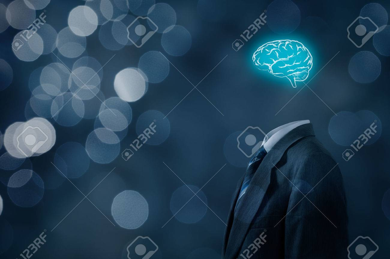 Leader think about business, creativity, business vision and headhunter concept. Businessman without head just with brain, bokeh in background. - 50997510