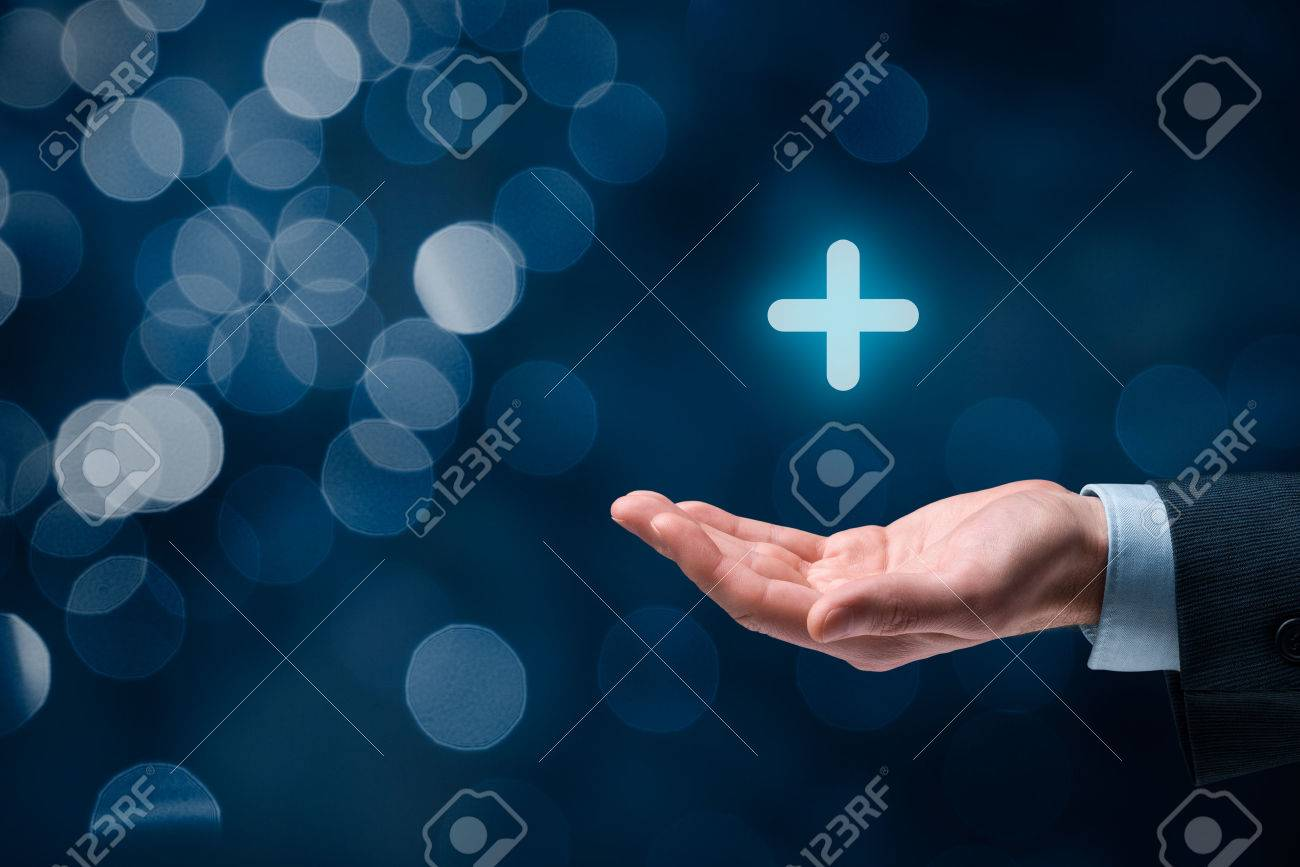Businessman offer positive thing (like benefits, personal development, social networking) represented by plus sign, bokeh in background. - 51291395