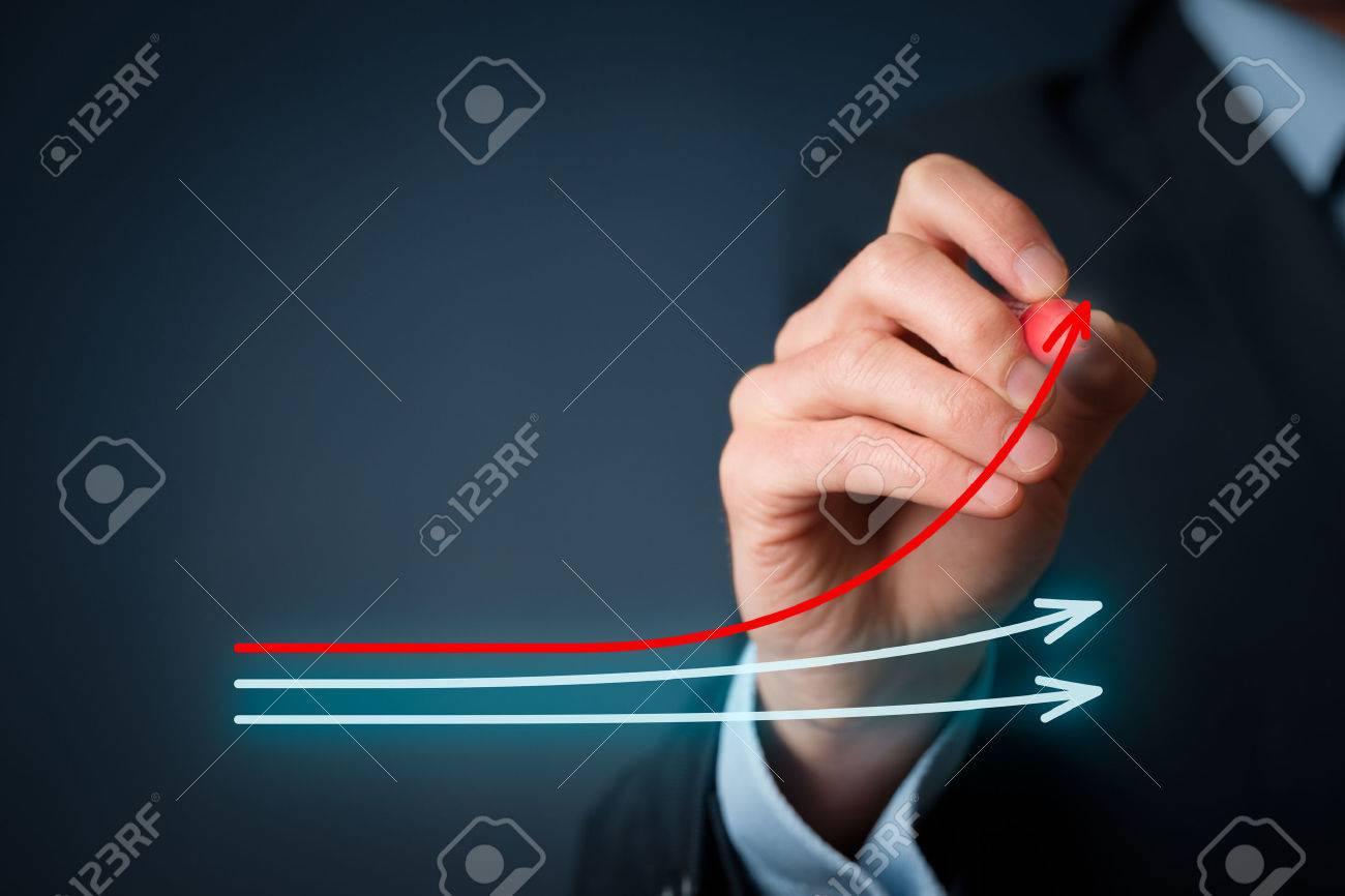 Benchmarking and market leader concept. Manager (businessman, coach, leadership) draw graph with three lines, one of them represent the best company in competition. - 53858359