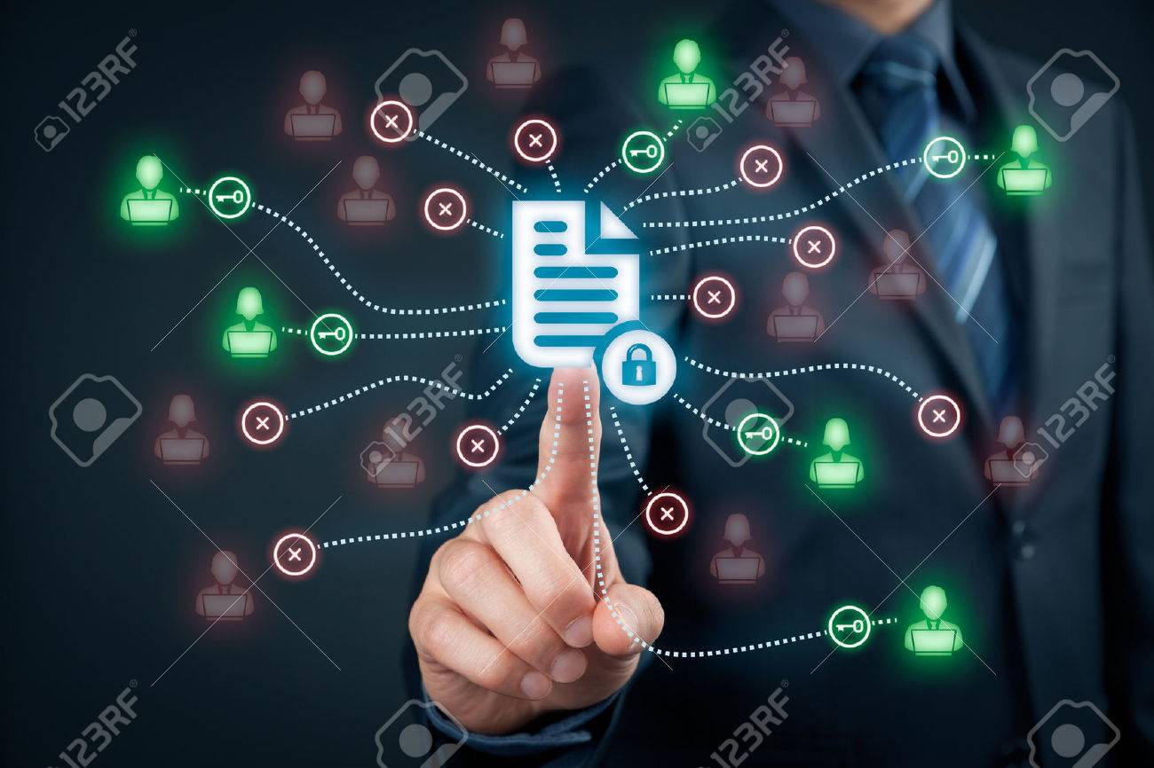 Corporate data management system (DMS) and document management system with privacy theme concept. Businessman click (or publish) on protected document connected with users, access rights symbolized by key. - 56357344