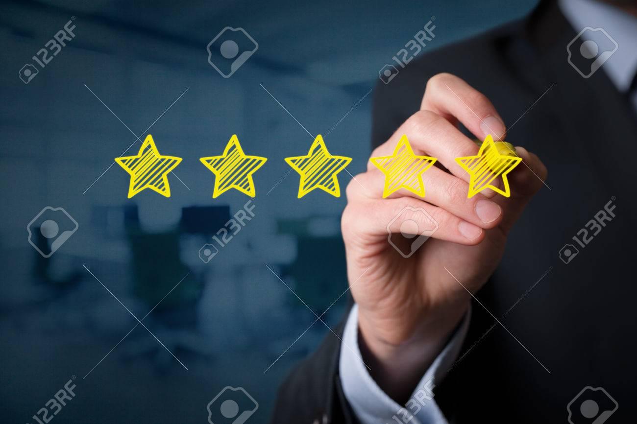 Review, augmenter note, la performance et le concept de classification. Banque d'images - 56357629