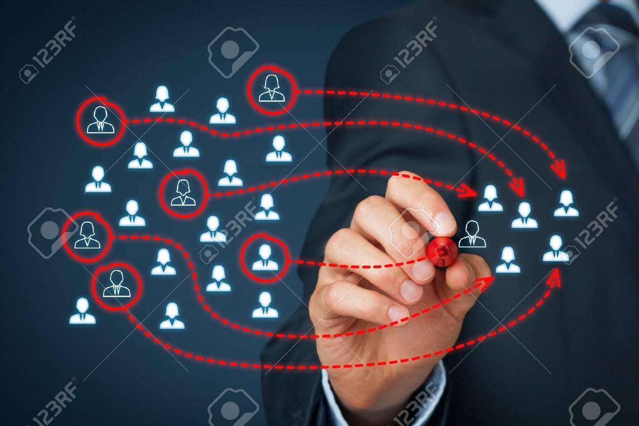 Assemble a business team, marketing segmentation, team building, targeting, personalization, individual customer care (service), and customer relationship management (CRM) concepts. Banque d'images - 56357766