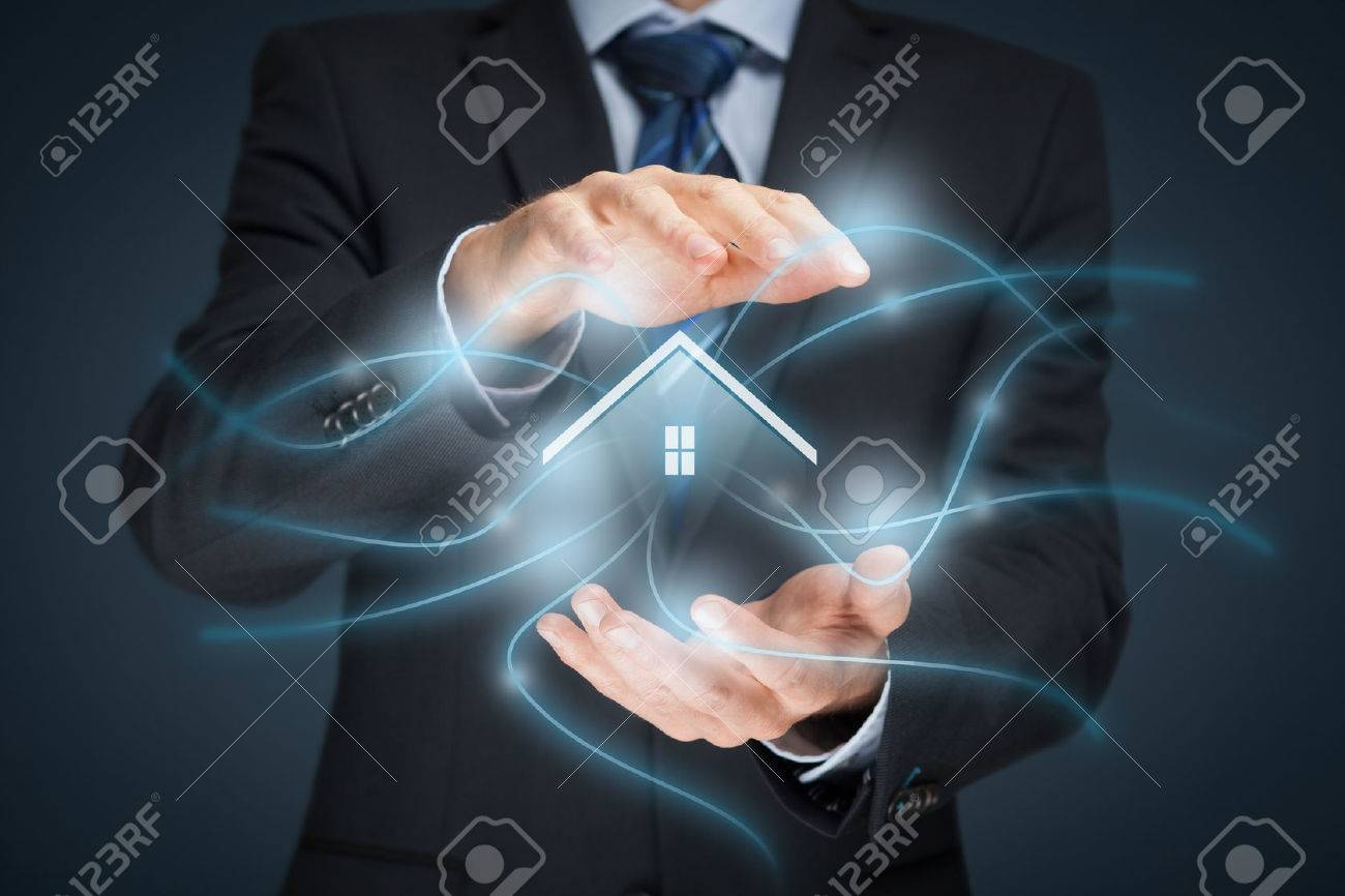 Intelligent house, smart home and home automation concept. Symbol of the house and wireless communication. - 56359247