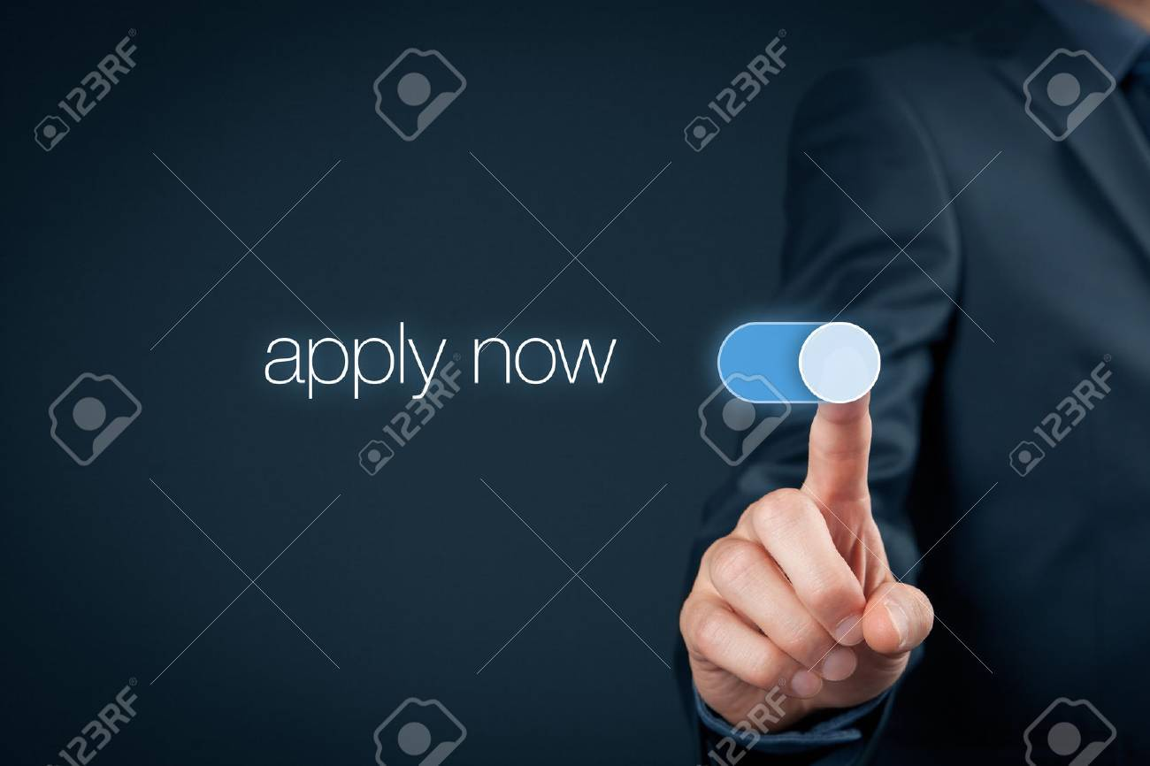 Apply now - human resources concept. Businessman switch-on button apply now. - 59047732