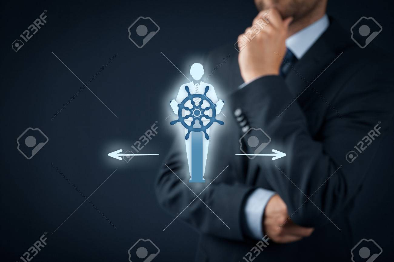 Decision making (managerial concept) – select the best business way (opportunity, strategy) symbolized by captain with helm. - 59226866
