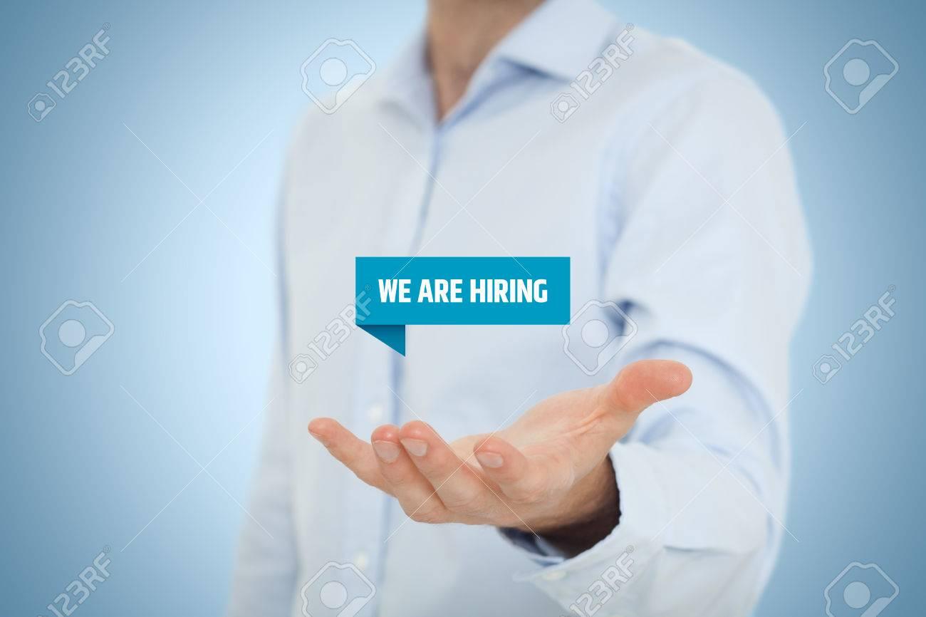 headhunter recruiter hold virtual label text we are hiring headhunter recruiter hold virtual label text we are hiring human resources concept