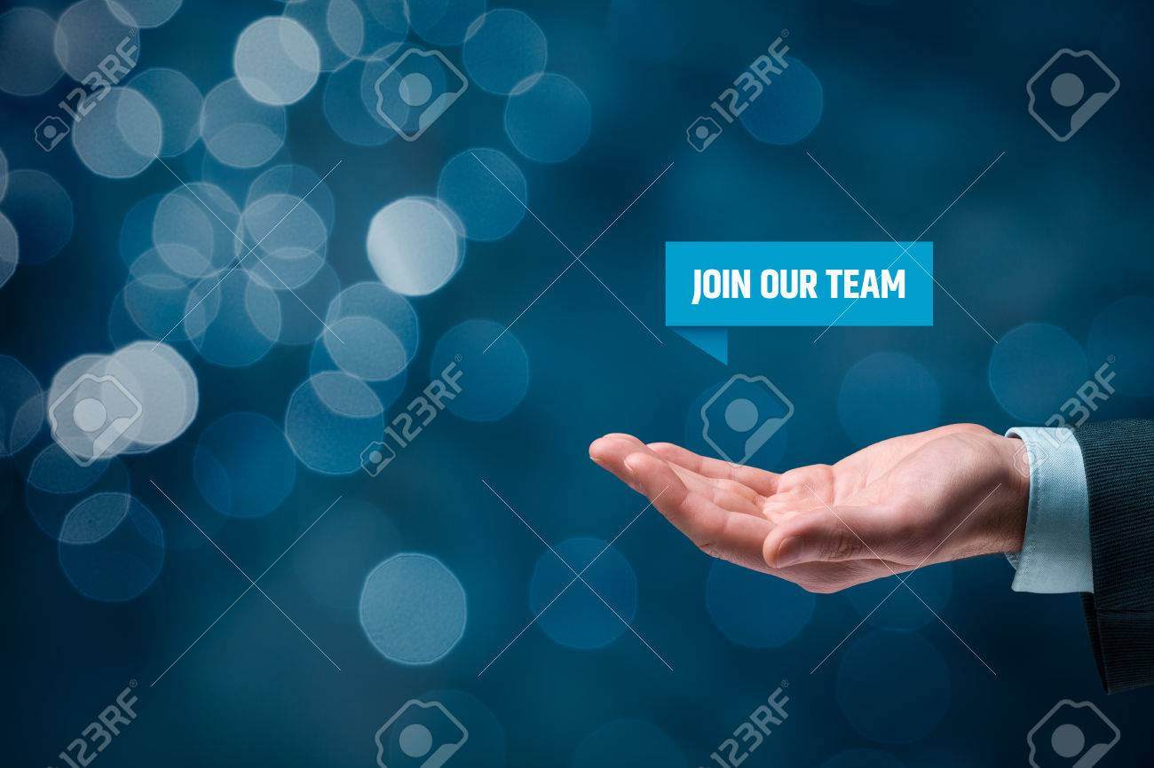 join our team concept headhunter recruiter hold virtual label headhunter recruiter hold virtual label text join our