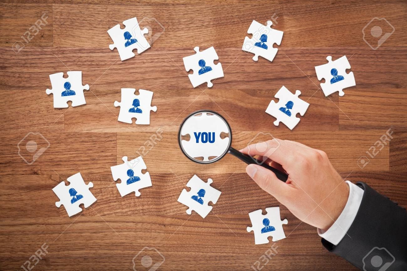 human resources concept peace of puzzle recruiter or headhunter human resources concept peace of puzzle recruiter or headhunter look for you customer