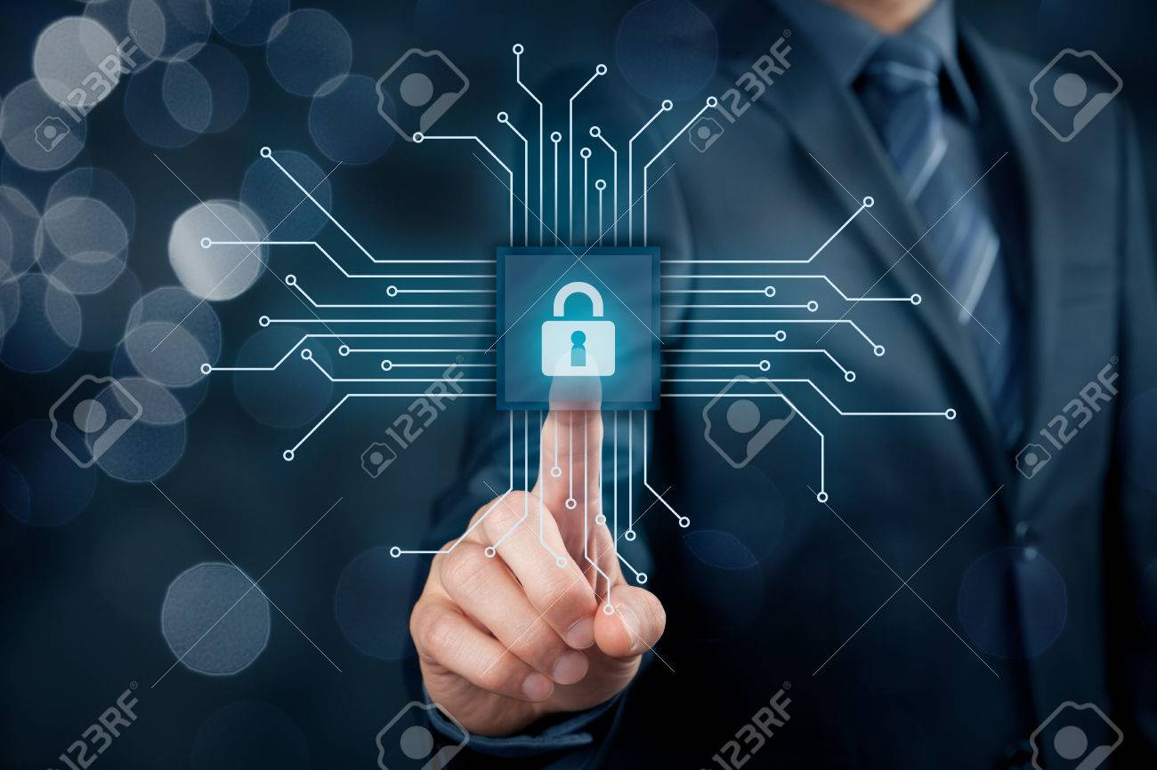 Information technology devices security concept. Businessman click on button in simplified design of chip, connected with abstract devices represented by points. - 70619753