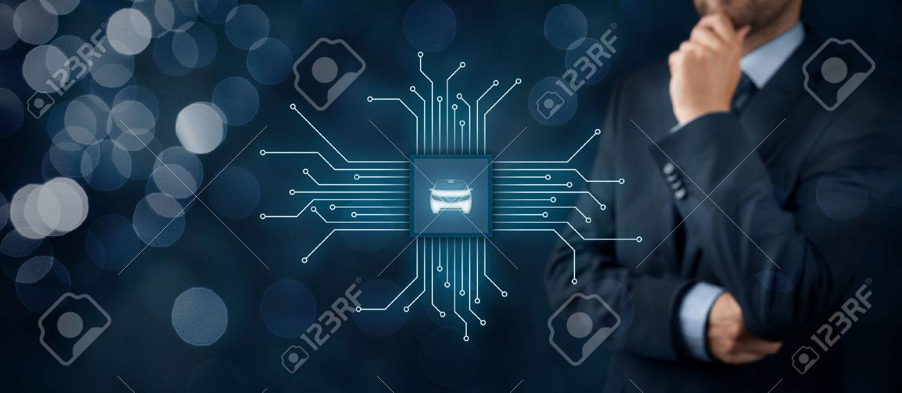 Intelligent car, intelligent vehicle and smart cars concept. Symbol of the car and wireless communication. Abstract chip with symbol of the car connected with abstract devices represented by points. - 70620845