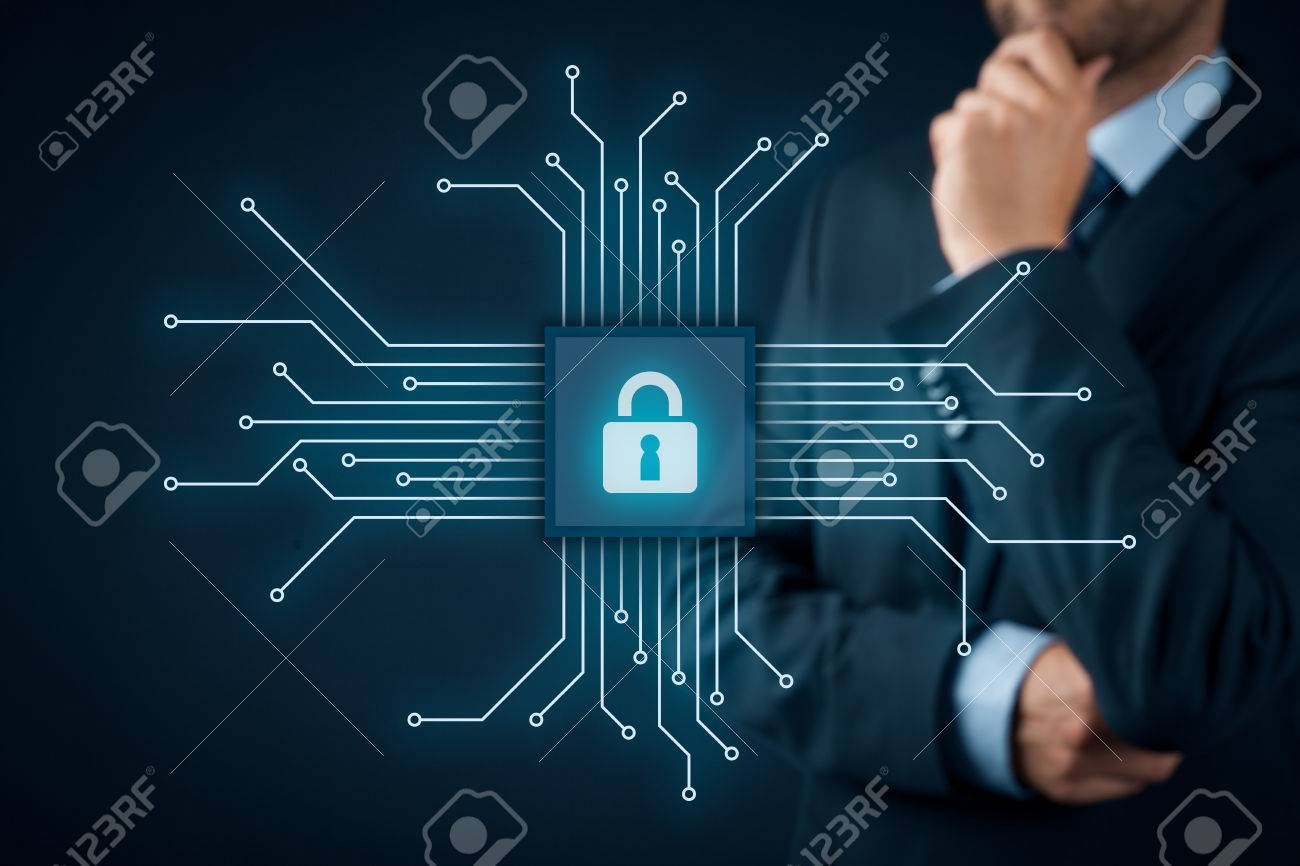 Information technology devices security concept. Businessman think about IT security - button with padlock icon in simplified design of chip connected with abstract devices represented by points. - 70619900