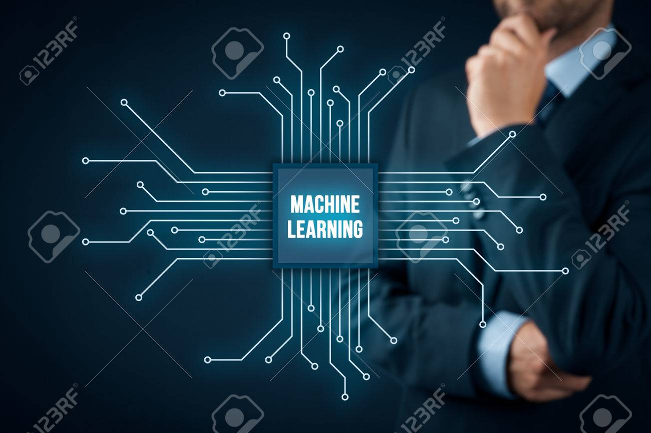 Machine learning data analysis concept businessman or programmer machine learning data analysis concept businessman or programmer with abstract symbol of a chip with biocorpaavc