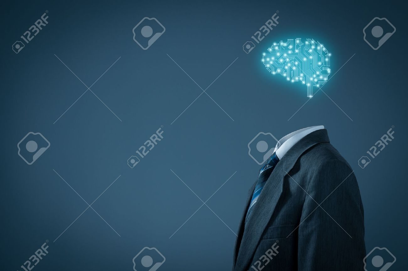 Artificial intelligence (AI), data mining, expert system software, genetic programming, machine learning, deep learning, neural networks and another modern computer technologies concepts. Brain representing artificial intelligence with printed circuit boa - 71332780