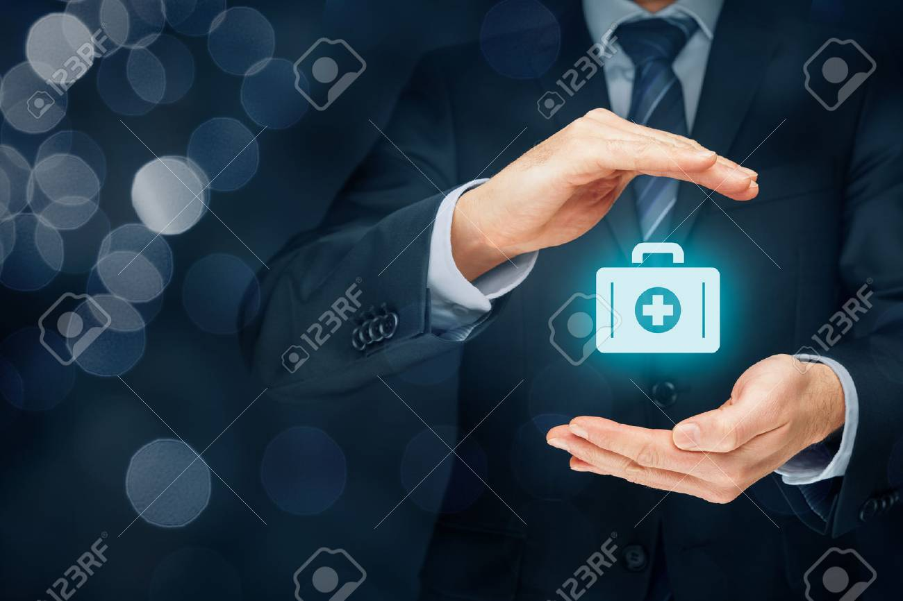 Medical (health) and life insurance concept. Insurance agent with protective gesture and icon of nurse briefcase. - 71799729