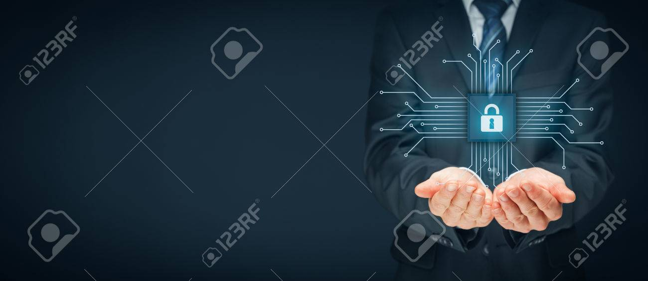 Information technology devices security concept. Businessman offer IT security service - button with padlock icon in simplified design of chip connected with abstract devices represented by points. - 71802534