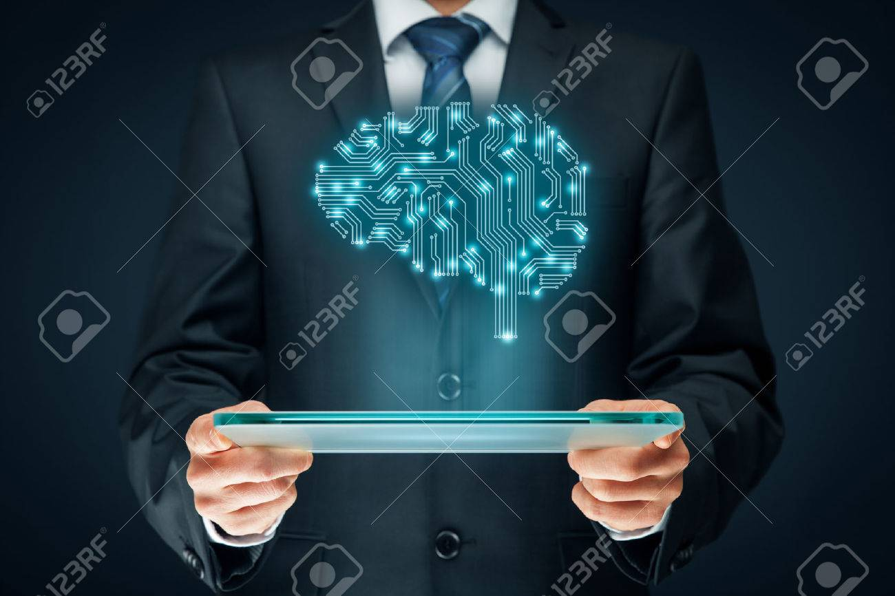 Artificial intelligence (AI), data mining, expert system software, genetic programming, machine learning, deep learning, neural networks and another modern computer technologies concepts. Brain representing artificial intelligence with printed circuit boa - 71799734