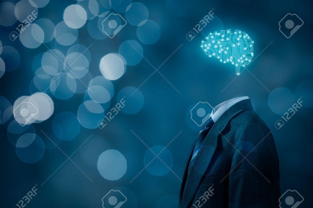 Artificial intelligence (AI), data mining, expert system software, genetic programming, machine learning, deep learning, neural networks and another modern computer technologies concepts. Brain representing artificial intelligence with printed circuit boa - 71802543