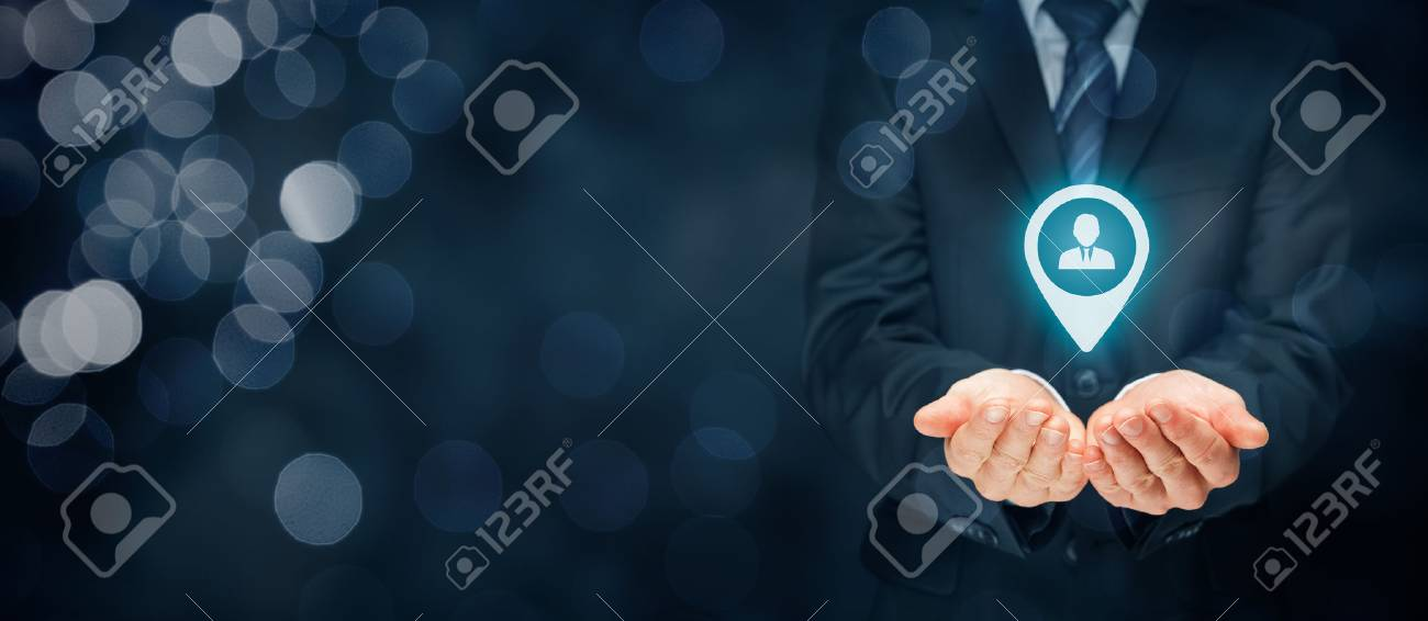 Target customer, customer care and human resources (HR) concept. Businessman hold target customer, employee (or another business person) in hand. - 71934022