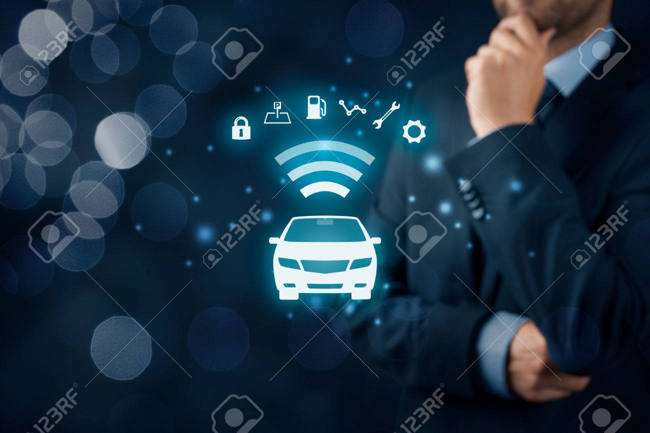 Intelligent car, intelligent vehicle and smart cars concept. Symbol of the car and information via wireless communication about security, parking location, fuel, drive analysis, service and car settings. - 73252584