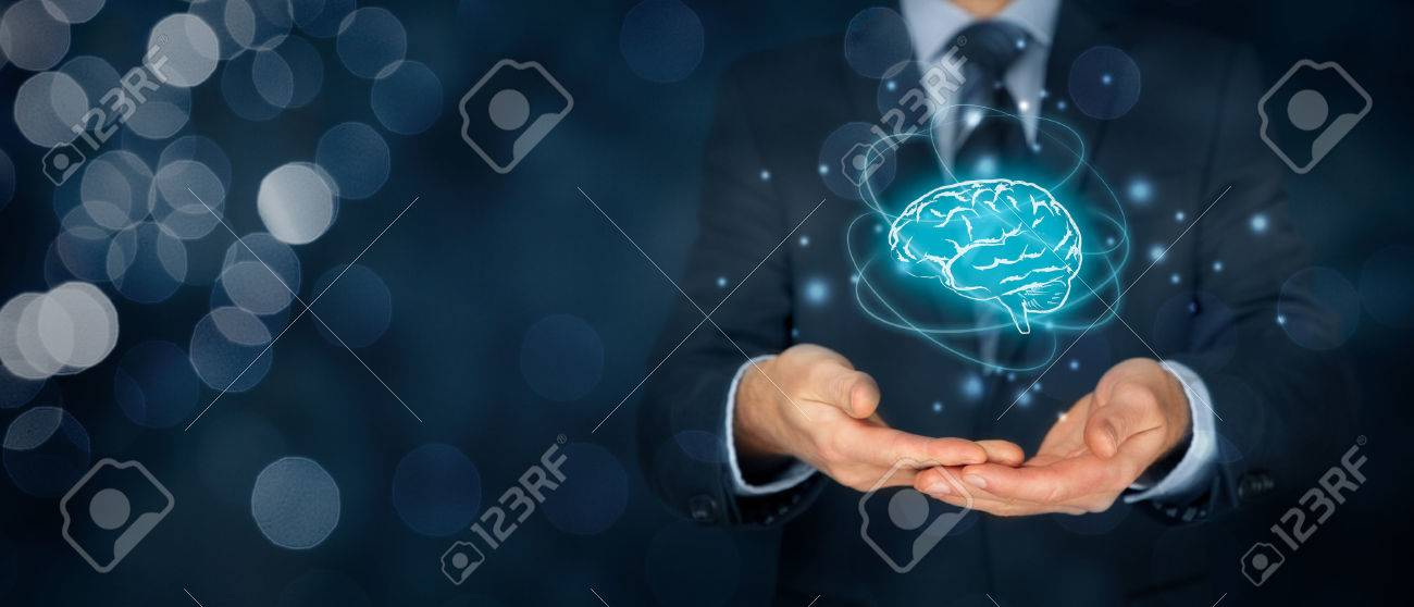 Artificial intelligence (AI), machine deep learning, creativity, headhunter, innovation and intellectual property rights. Brain representing artificial intelligence, creativity, innovation and similar with futuristic design. - 73273381