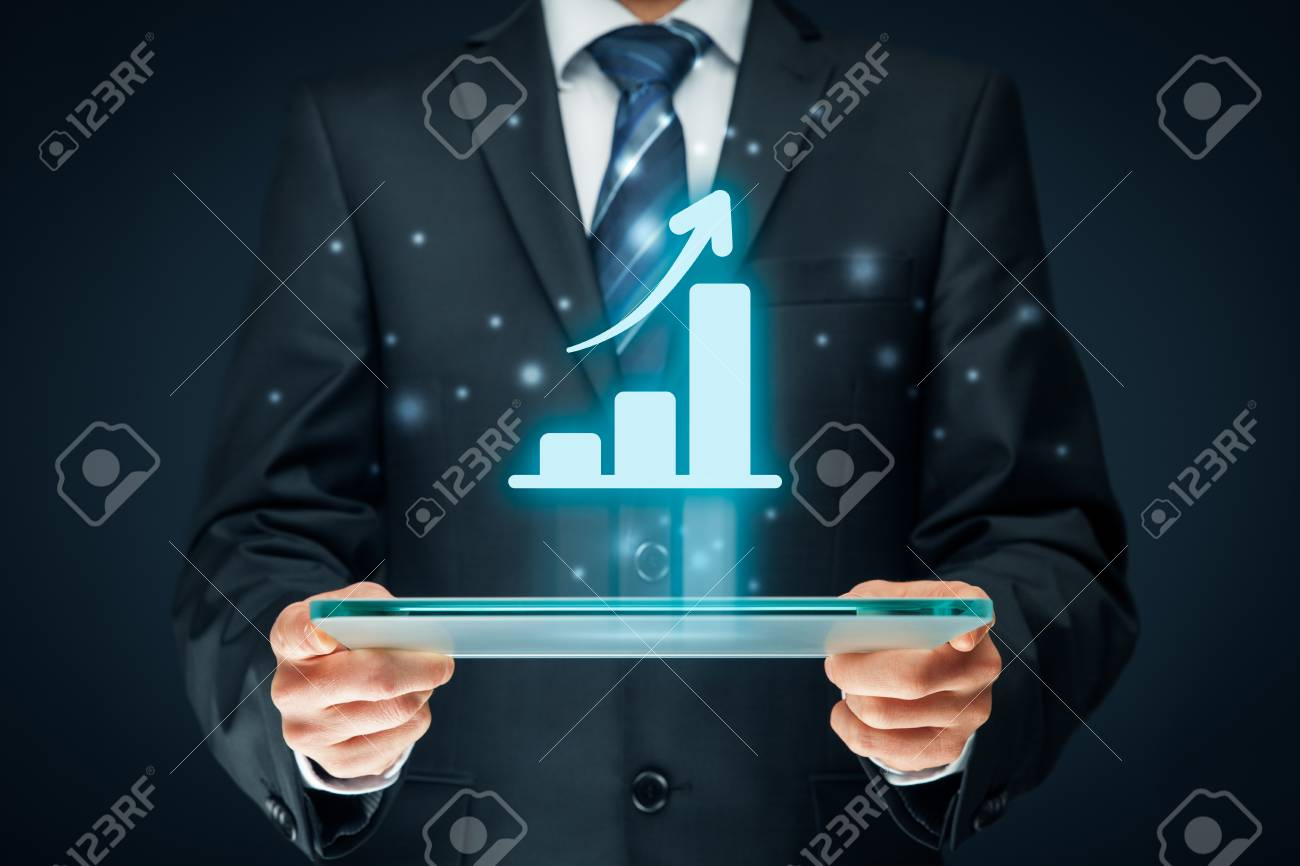 Business growth analysis concept. Businessman plan growth and increase of positive indicators in his business. - 73771318