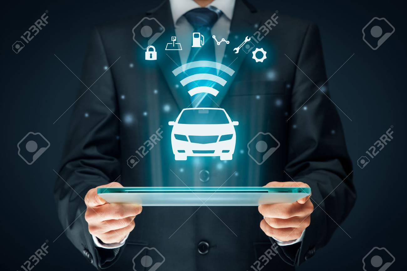 Intelligent car, intelligent vehicle and smart cars concept. Symbol of the car and information via wireless communication about security, parking location, fuel, drive analysis, service and car settings. - 73898771