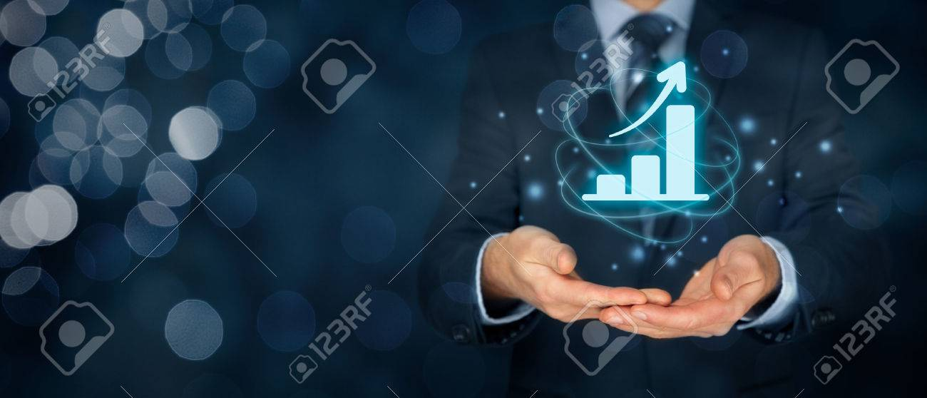 Business growth analysis concept. Businessman plan growth and increase of positive indicators in his business. - 73898815