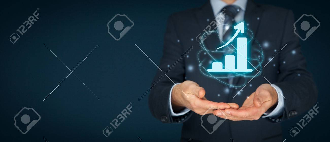 Business growth analysis concept. Businessman plan growth and increase of positive indicators in his business. - 75228268