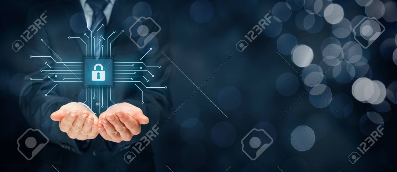 Information technology devices security concept. Businessman offer IT security service - button with padlock icon in simplified design of chip connected with abstract devices represented by points. - 86941677