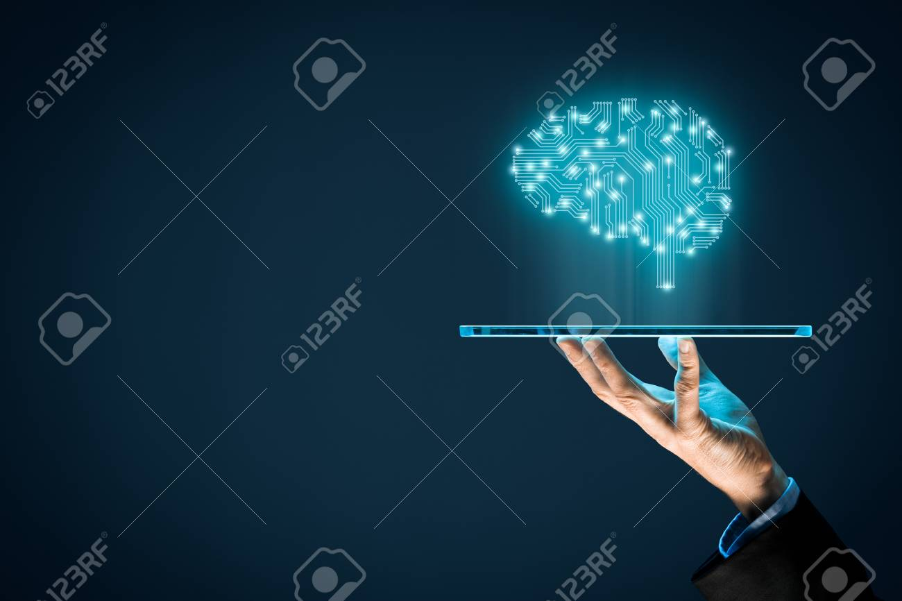 Artificial intelligence (AI), machine deep learning, data mining, and another modern computer technologies concepts. Brain representing artificial intelligence and businessman holding futuristic tablet. - 91785429